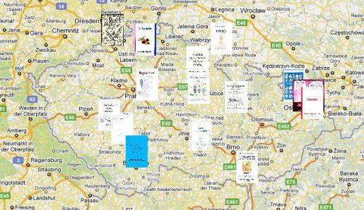 Google mapa sborníků ze soutěže Nadílka našich dílek 2011