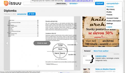 Ukázka vloženého dokumentu v Issuu